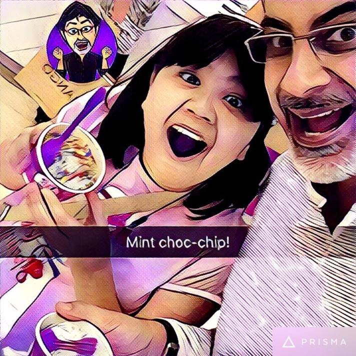 having mint choc-chip with daughter